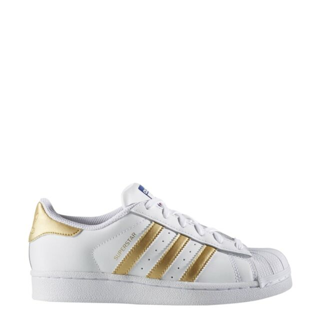 on sale eac31 445e1 Adidas Big Kids Superstar white metallic gold B39402