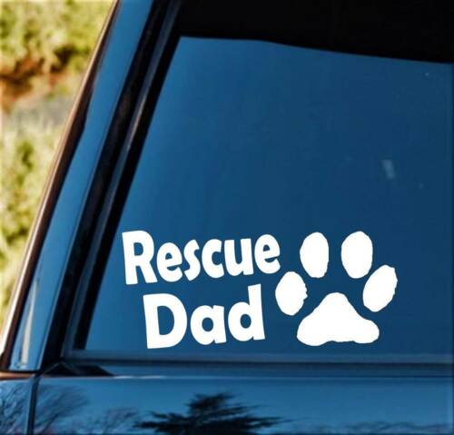 Rescue Dad Dog Breed Paw Decal Sticker Car Window Pet Gift Accessories Art D1122
