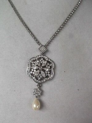 Vintage Carolee white rhinestone and faux pearl filigree pendant necklace