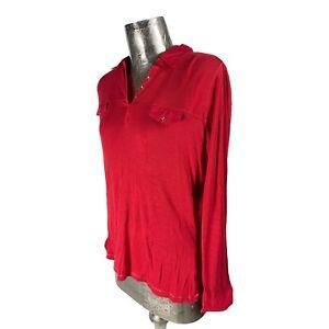 Oscar B Cotton Red Top T-Shirt Collar NEW UK L 16 (EU44) Women's RRP £46