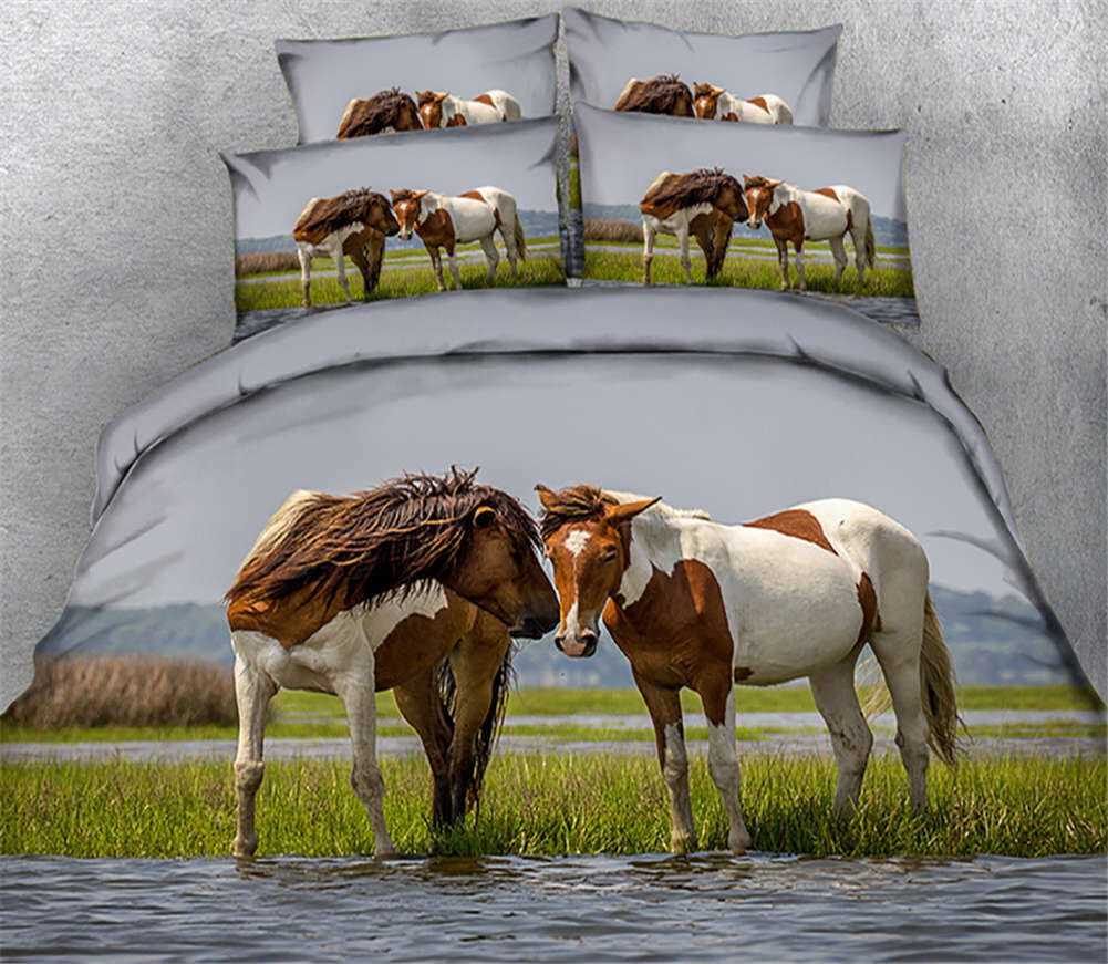 Half-brosso Horse 3D Printing Duvet Quilt Doona Covers Pillow Case Bedding Sets