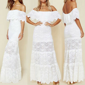 Womens Off The Shoulder Lace Maxi Long Bodycon Dress Sexy Evening Beach Party AU