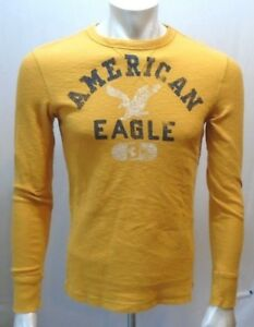 American Eagle Mens Vintage Fit Yellow Waffle Crew Neck Long Sleeve ... 773073617c205