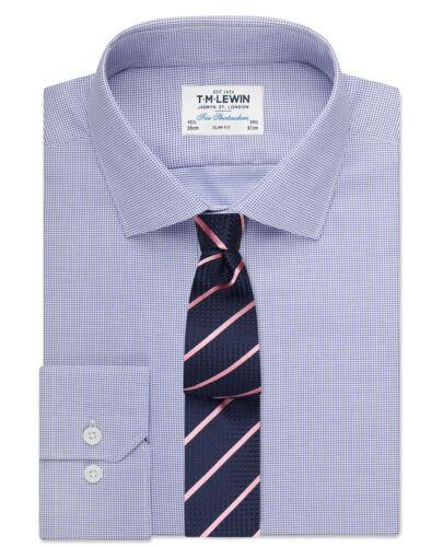 T.M.Lewin   Slim Fit Navy Textured Oxford Shirt