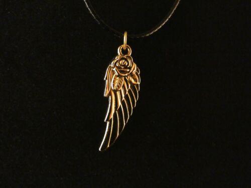 Flügel mit Rose Anhänger mit Kette 24 Karat Vergoldet Engel Liebe Blume Gold