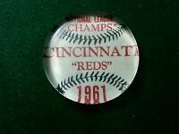 Vintage Style 1961 Cincinnati Reds Champs Glass Paperweight..by Artist