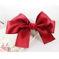 Korea Women Girls Large Satin Ribbon Ponytail Hair Bow Clips Barrettes Handmade