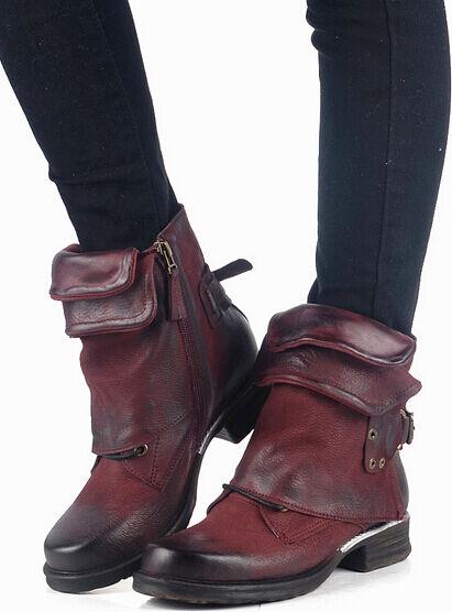 Retro Real Cuero para mujeres botín Gladiador Roma Hebilla Hebilla Hebilla Zapatos De Motor Con Cremallera Lateral  ventas en linea