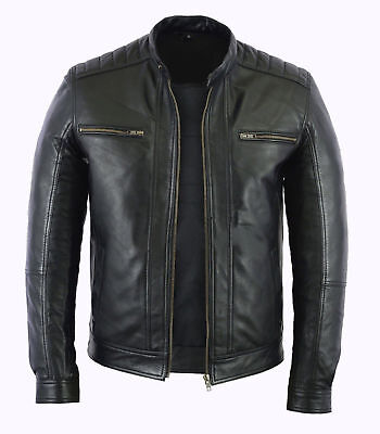 Mens Stylish Genuine Lambskin Motorcycle Biker Leather Jacket 71