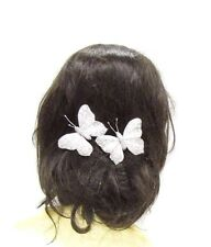 2 x Silver White Butterfly Hair Clips Bridesmaid Christening Glitter Vtg 2850