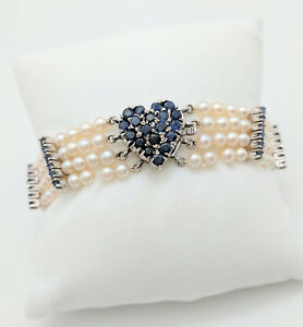 Ladies 14k White Gold 2 86ctw Sapphire Heart Multi Strand Pearl