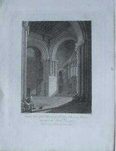 1810-ANTIQUE-PRINT-INSIDE-VIEW-CHANCEL-ST-JOHNS-CHURCH-CHESTER-SOUTH-TRANSEPT