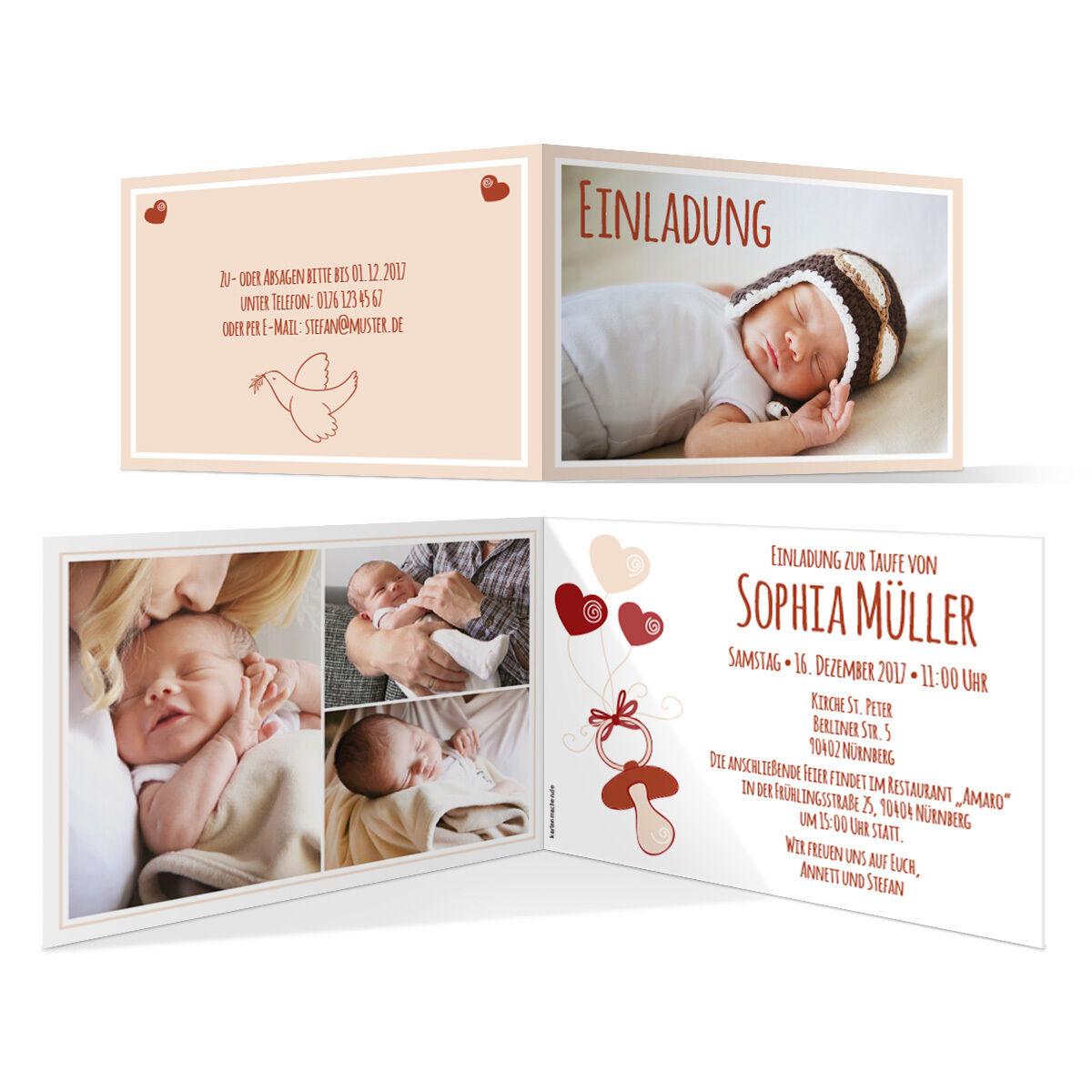 Taufe Einladungskarten - Schnuller in Fuchsrot - Taufeinladung Taufkarten | München Online Shop  | Hohe Qualität Und Geringen Overhead