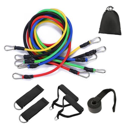 11PCS Resistance Tube Bands Door Anchor Ankle Straps Cushioned Handles Bag I1E8