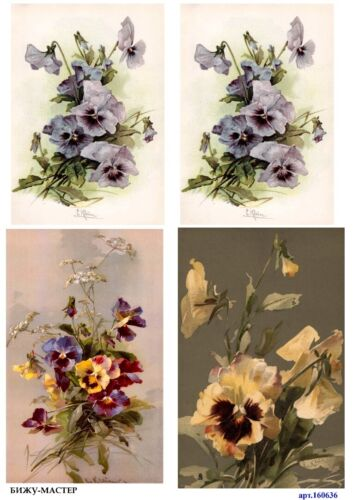 Rice paper decoupage 160636 napkin vintage pansies supplies craft scrapbooking