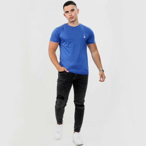 UK Mens T-Shirt Pure Cotton Round Neck Summer Casual Gym Muscle Fit FASHIONi