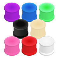 Pair Solid Silicone Double Flat Flare Ear Tunnels Plugs Earlets Gauges
