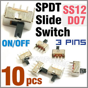 10 pcs 2 Position SPDT Vertical Slide Switch Small Mini Size ON-OFF 3 Pin PCB