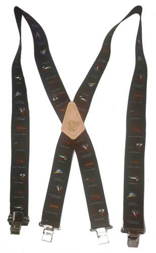 """FLY FISHING American Made Custom 2/"""" Wide Suspenders Metal Clips FISHERMAN BLACK"""