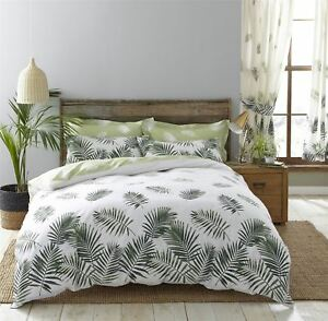 LARGE FERN LEAVES GREEN WHITE 144 TC COTTON BLEND SUPER KING DUVET COVER