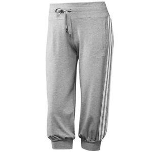 Details zu adidas Damen 34 Hose 3 Streifen Capri Pant Freizeithose grau weiß NEU