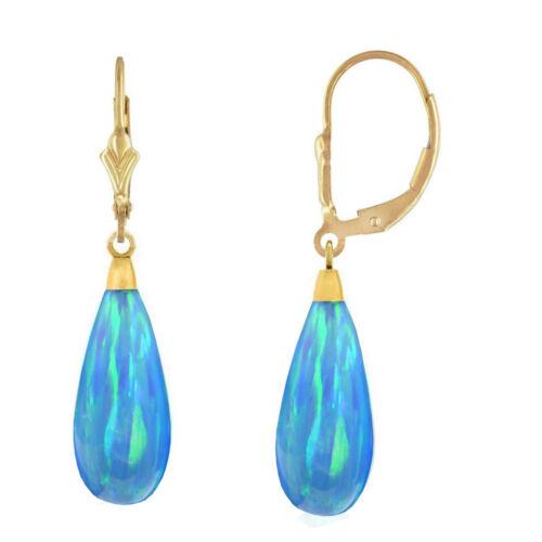 14K Yellow Gold Tear Drop Shaped Light Blue Fire Opal Lever back Dangle Earrings