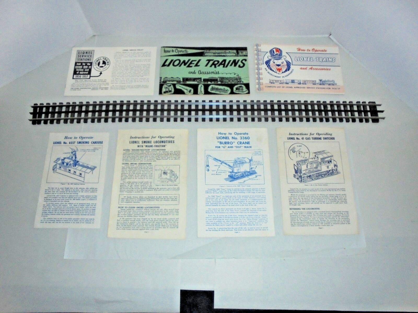 Antiguo Lote De de hojas de instrucciones de Lionel y libros de instrucciones. 6557,41 y más