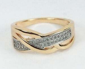 Women-039-s-rose-gold-filled-Clear-crystal-ring-Interwoven