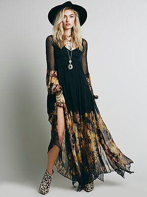 New Women Vintage Party Evening BOHO Bodycon Maxi Long Slim Chiffon Sheer Dress