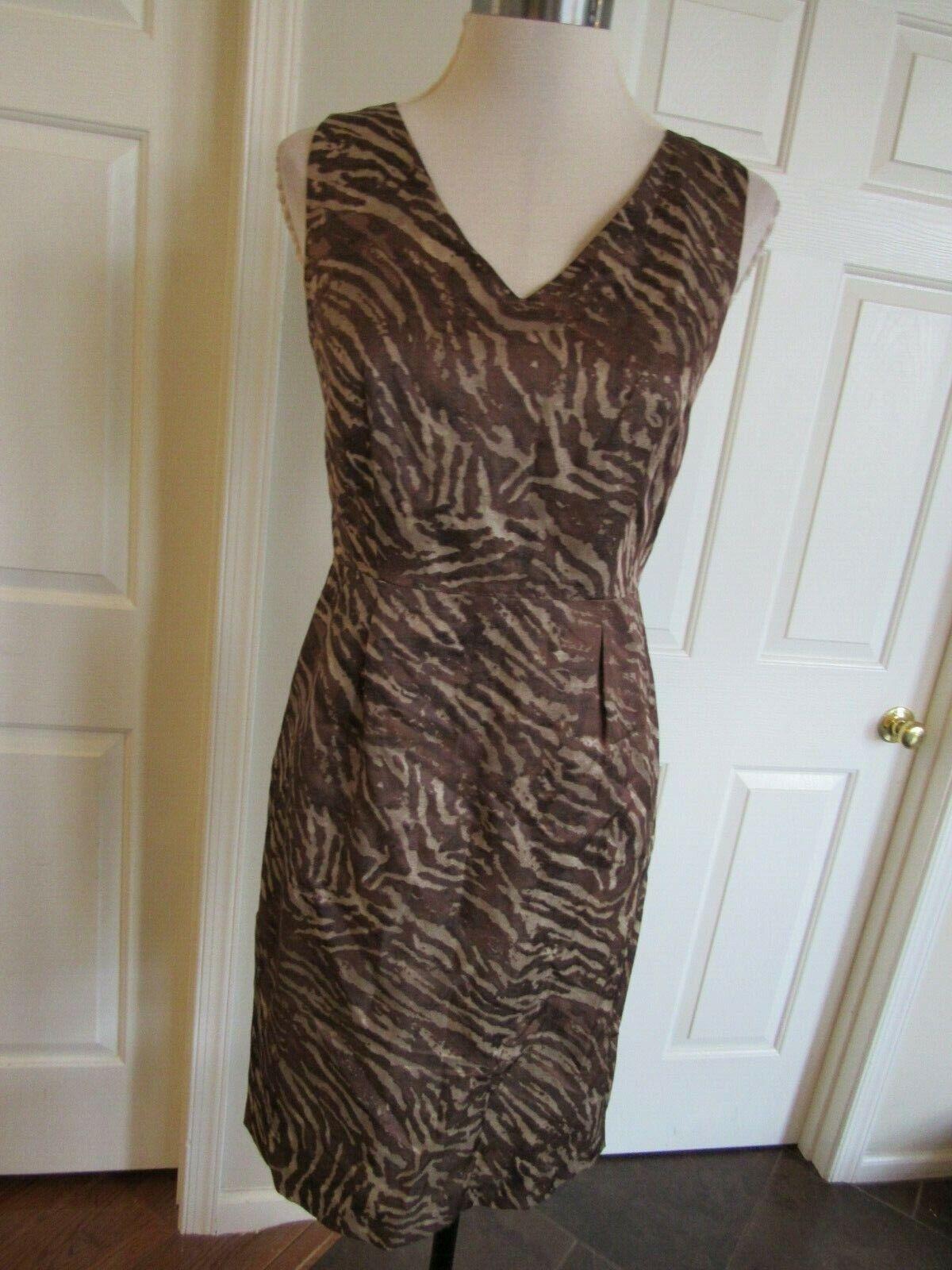 NWT Banana Republic Women's Brown/Tan Sleeveless Sheath Lined Dress Sz 4 $140