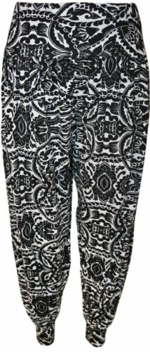 Womens Printed Stretchy Baggy Elasticated Waist Ankle Cuff Harem Trousers Pants