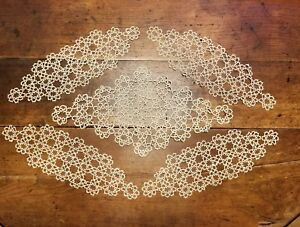 Antique-Tatted-Lace-Doilies-Creme-Lot-of-5-Handmade-1920s-with-History