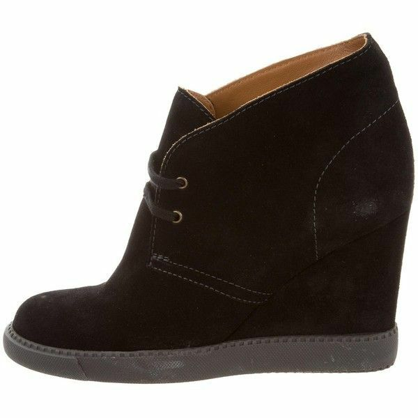 *80 SEE by CHLOE LEA BLACK SUEDE WEDGE LACE UP SNEAKER ANKLE BOOT  SZ 6  325