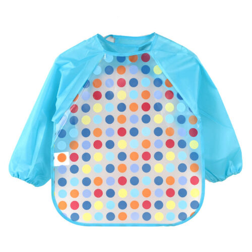 Baby Toddler Kids Waterproof Bibs Apron Feeding Burp Long Sleeve Cloths Cartoon