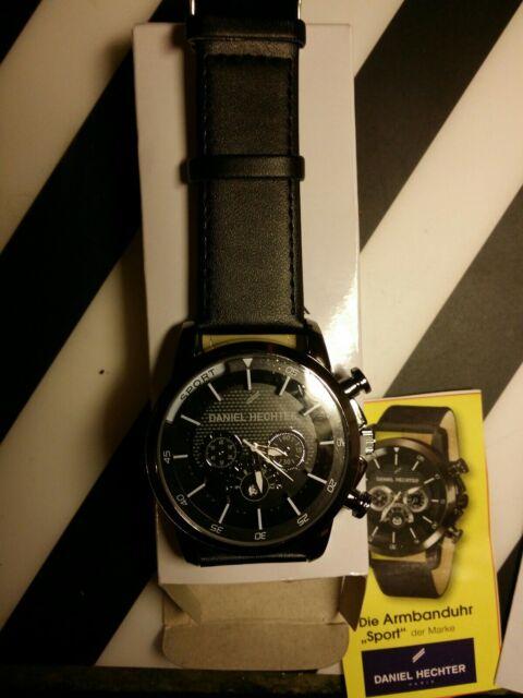 Details zu Große sportliche Armband Uhr silber, schwarz für Herren v. Daniel Hechter in OVP