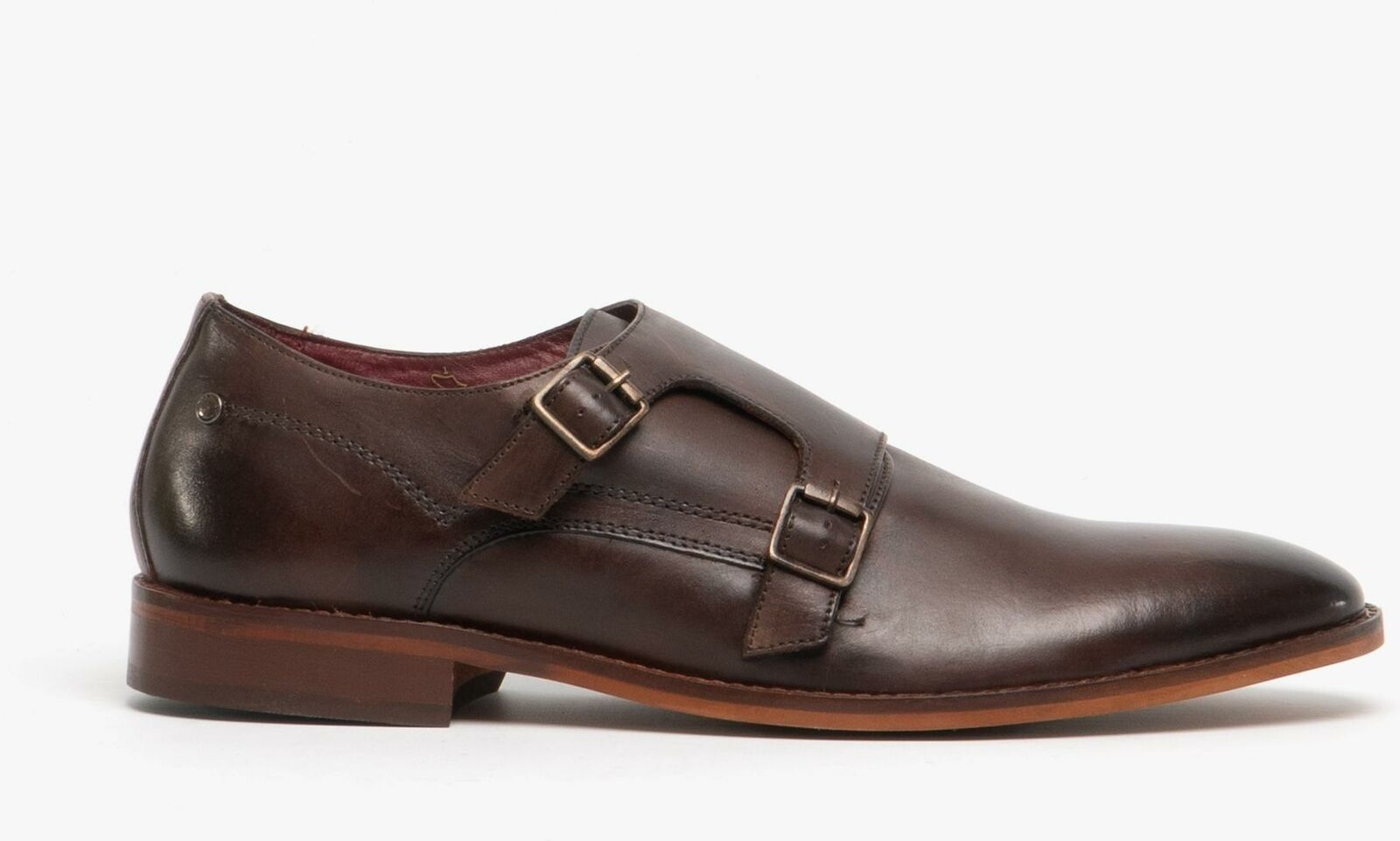 Base London MONTAGE Mens Genuine Leather Buckle Monk Strap schuhe Washed braun