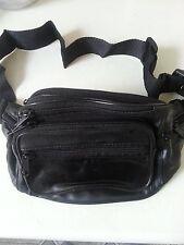 BLACK BUM BAG WITH 7 POCKETS SECURITY SAFE TRAVEL MONEY WAIST BELT WALLET *NEW*