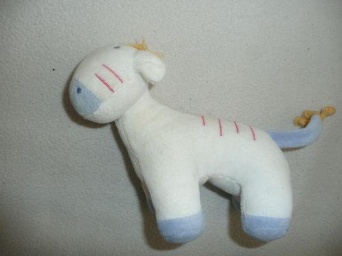 Doudou peluche hochet zebre poney blanc et bleu tex TBE