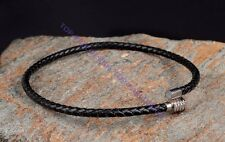 Polished Magnet Stainless Steel Clasp 6mm Black Leather Braided Choker Necklace