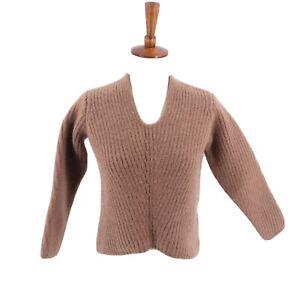 Acne-Studios-Deborah-Ribbed-Wool-Sweater-Size-XXS-Caramel-Brown-Long-Sleeve