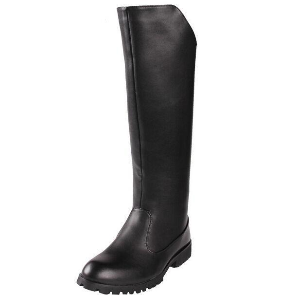 Mens Vintage Black Leather Boots Horse Riding Mens Knee High Boots Formal shoes