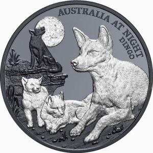Niue 2021 Australia at Night Dingo, Pups & Moon $1 1 Oz Pure Silver Black Proof