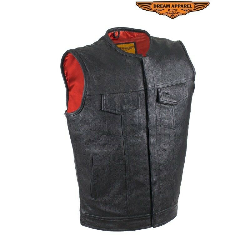 Men ZippeROT No Collar Leder Motorcycle Club Vest with ROT Liner MV8002-ZIP-11