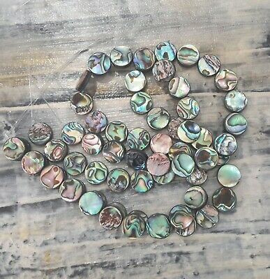 Natural Abalone//Paua Shell Graduated Bead Strand Free Postage Oz Seller