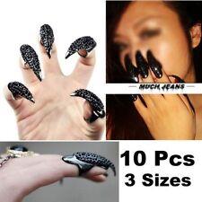 VStoy 10 Pcs False Nail Claw Paw Talon Finger Ring Black Crystal Gothic Punk