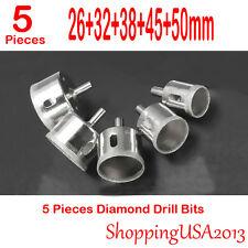 5 Pcs 26-50mm Diamond Coated Drill Bits Set Hole Saw Cutter Tool Glass Marble**