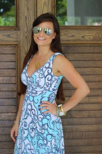 New Lilly Pulitzer Sloane SPA BLUE SHAPE UP or SHIP OUT Print MAXI Dress S RARE