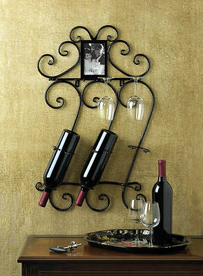 WINE WALL RACK HOLDER SCROLLWORK MOUNTED RACK AND PHOTO FRAME DECOR ~10015695