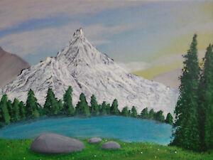 Landschaft Kunst Acryl Gemälde Pappe 30x23cm Malerei Bilder Ebay