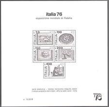 1976 Repubblica/ Italy Foglietto ITALIA 76 - Cartoncino Pubblicitario Nuovo
